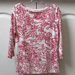 Talbots Casual Pink Print Top Size: S